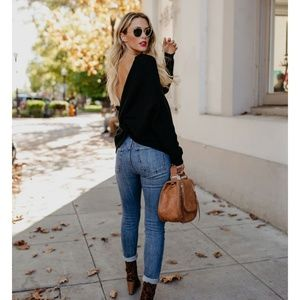 LENORA Twist Back Sweater in Classic Black
